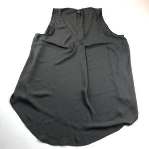 Torrid Sleeveless Top Size 1 (1X) Flowy V Neck Grey Semi Sheer 100% Polyester